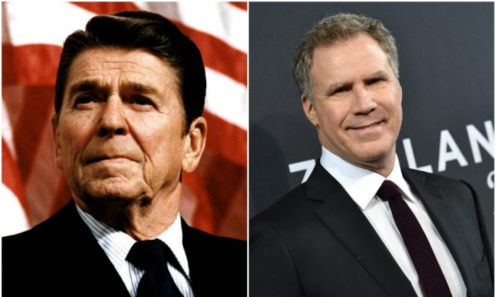 (L) Former US President Ronald Reagan         (R). Actor Will Ferrell (Photo by Dimitrios Kambouris/Getty Images)