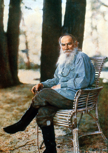 Lithograph print of photograph Leo Tolstoy by Prokudin-Gorsky, 1908, the first color photo portrait in Russia. (Public domain)