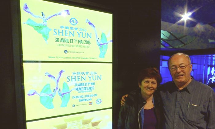 """Retired professor Pierre Giroux and his wife, Janine Routhier, attended Shen Yun at Place des Arts in Montreal, Canada on May 1, 2016, and were deeply moved. """"It was magnificent,"""" said Mr. Giroux. """"It was the essence of the human expression that was approaching the divine."""" (Mathieu Côté-Desjardins/Epoch Times)"""
