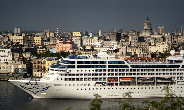 Carnival's Adonia cruise ship arrives from Miami in Havana, Cuba, Monday, May 2, 2016. The Adonia's arrival is the first step toward a future in which thousands of ships a year could cross the Florida Straits, long closed to most U.S.-Cuba traffic due to tensions that once brought the world to the brink of nuclear war. (AP Photo/Ramon Espinosa)