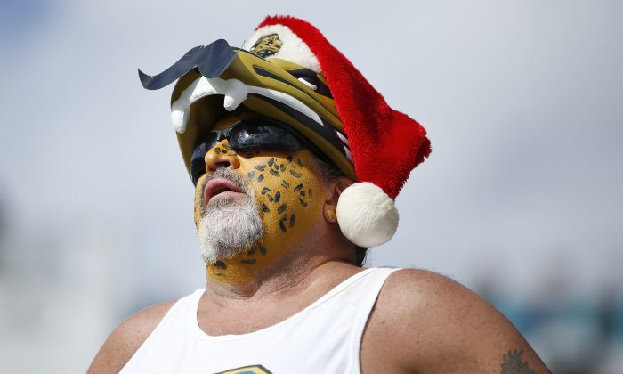 A fan of the Jacksonville Jaguars reacts in the first half of the game against the Atlanta Falcons at EverBank Field on December 20, 2015 in Jacksonville, Florida. (Joe Robbins/Getty Images)