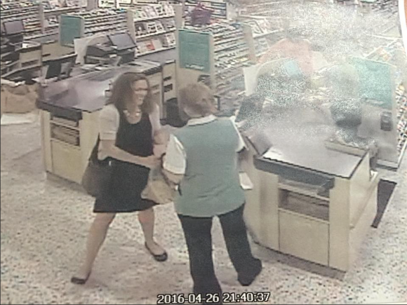 In this newly released surveillance photo, Tricia Williams Todd, left, converses with a Publix grocery store employee just before exiting the location. This is her last known whereabout before going missing on April 27. (Martin County Sheriff's Office/Facebook)