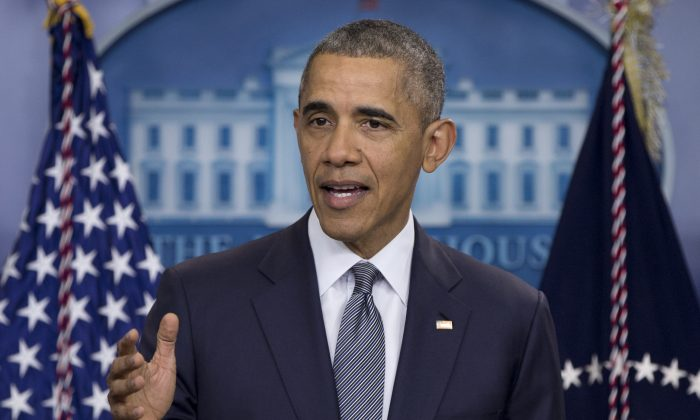 President Barack Obama speaks in the White House briefing room in Washington, Friday, May 6, 2016, about the economy and new steps to strengthen financial transparency and combat money laundering, corruption, and tax evasion. (AP Photo/Carolyn Kaster)