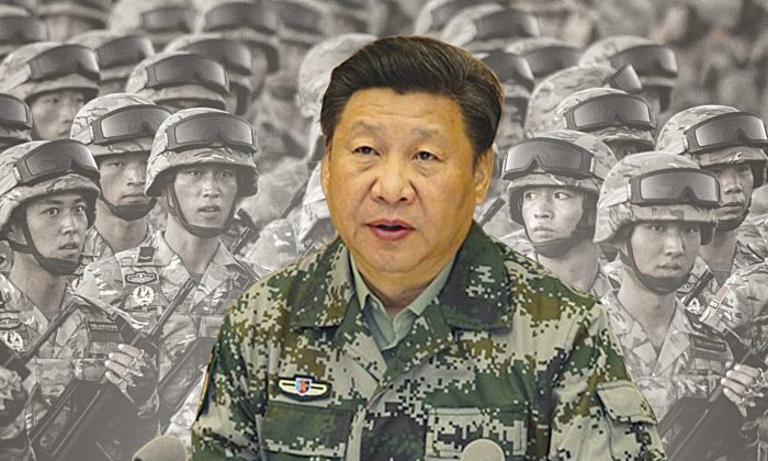 Xi Jinping in army camouflage suit visited the Joint Command Headquarters (JCH) after being named commander-in-chief of the JHC of the Central Military Commission (CMC) on April 20, 2016. (Composed photo Epoch Times)