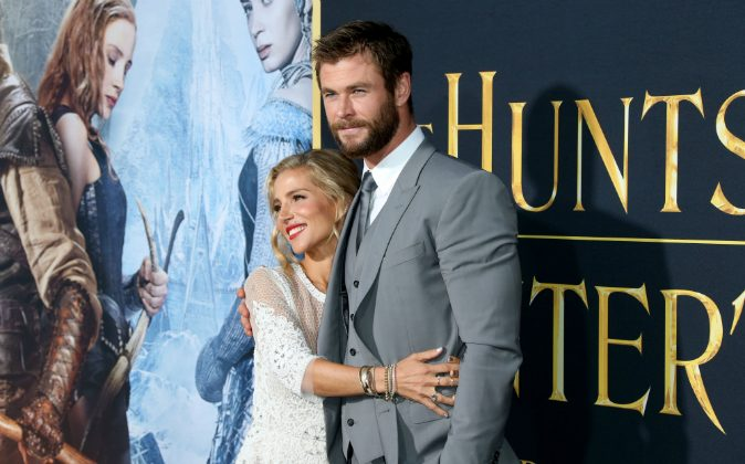 Actor Chris Hemsworth (R) and wife Elsa Pataky (L) attend the premiere of Universal Pictures' 'The Huntsman: Winter's War' at the Regency Village Theatre on April 11, 2016 in Westwood, California. (Photo by Frederick M. Brown/Getty Images)