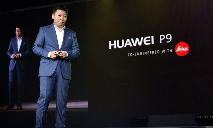 Richard Yu, CEO of Chinese telecommunications company Huawei, attends the launch of its P9 smartphone. The phone copies several key design elements from the Apple iPhone. (Anthony Harvey/Getty Images for Huawei)