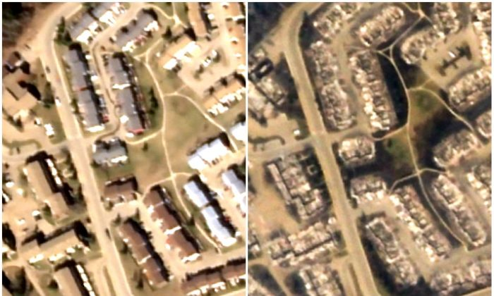 Comparison of satellite images taken before (L) and after wildfires hit Fort McMurray in Alberta, Canada, in May 2016. (Screenshots of Google Crisis Map)