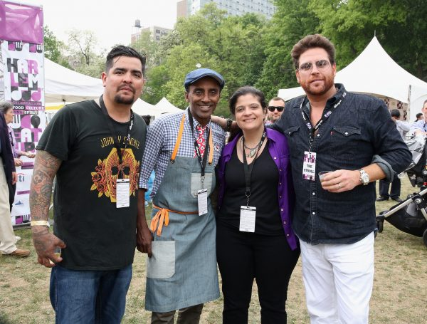 (L to R) Chefs Aarón Sánchez, Marcus Samuelsson, Alex Guarnaschelli, and Scott Conant. (Courtesy of Harlem EatUp! Festival)