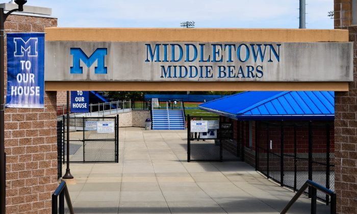 Entrance to Middletown High School sports field in Middletown on May 10, 2016. (Yvonne Marcotte/Epoch Times)