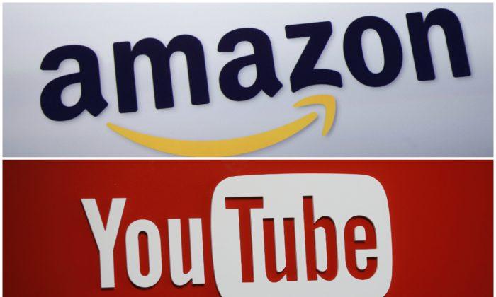 Amazon logo at a news conference in 2011. (AP Photo/Mark Lennihan) YouTube logo in 2015. (AP Photo/Danny Moloshok)