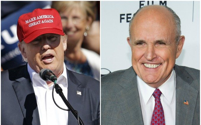 Presumed GOP Nominee Donald Trump and ex-New York mayor Rudy Giuliani (AP Photo/Elaine Thompson and Charles Sykes)