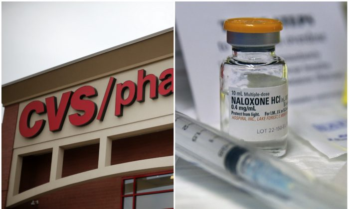 A CVS/Pharmacy in Dormont, Pa., March 17, 2014. (AP Photo/Gene J. Puskar, File) and a small bottle of the opiate overdose treatment drug, naloxone, also known by its brand name Narcan, on Feb. 19, 2014. (AP Photo/Mel Evans,file)