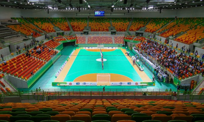 General view of the Future Arena during the International Handball Tournament - Aquece Rio Test Event for the Rio 2016 Olympics at the Olympic Park on April 29, 2016 in Rio de Janeiro, Brazil.  (Buda Mendes/Getty Images)