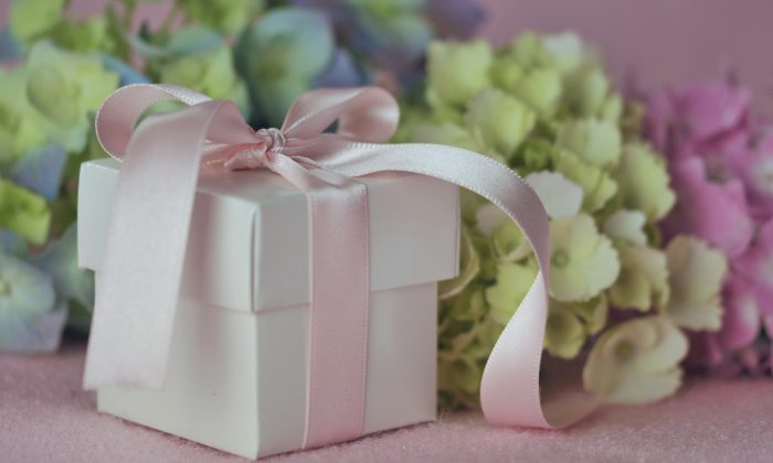 Gift and Hydrangeas (cath5/Shutterstock)