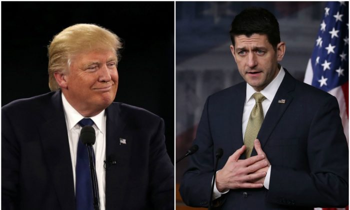 Republican nominee Donald Trump and Speaker Paul Ryan. (Mark Wilson/Getty Images)