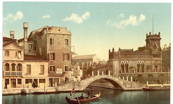 Bridge and canal, Venice, Italy. (LOC)