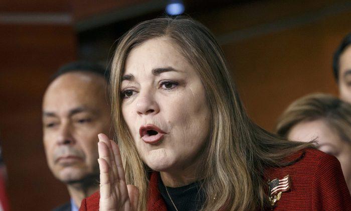 Rep. Loretta Sanchez (D-Calif.) responds to questions during a Congressional Hispanic Caucus news conference on Capitol Hill in Washington, D.C., on Feb. 13, 2015. (AP Photo/J. Scott Applewhite)