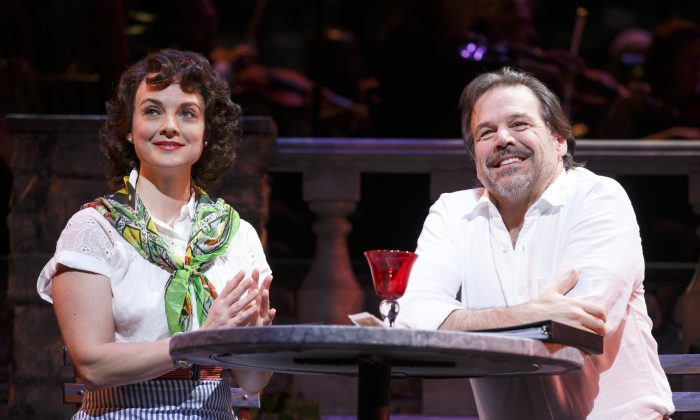 """Leona Samish (Melissa Errico) meets the man of her dreams, Renato Di Rossi (Richard Troxell)---at least she thinks, in """"Do I Hear a Waltz?"""" (Joan Marcus)"""