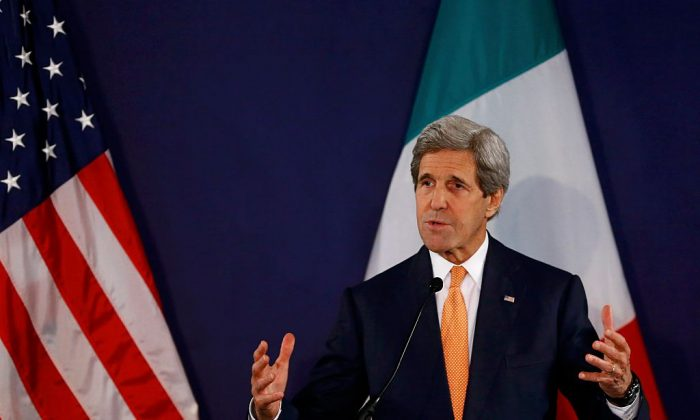 US Secretary of State John Kerry addresses a press conference on May 16, 2016 in Vienna, Austria. (Leonhard Foeger/AFP/Getty Images)