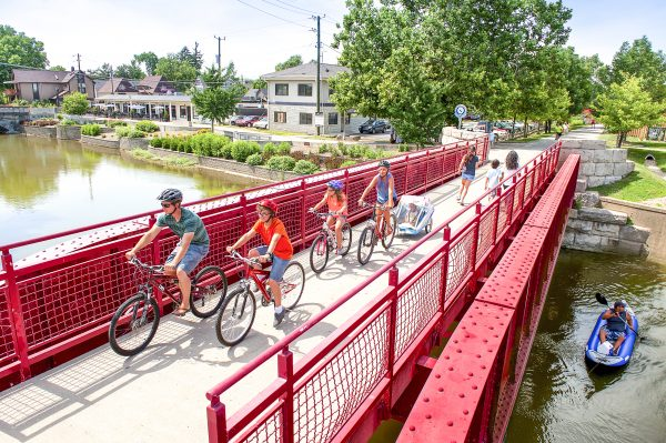 Biking along the Monon Trail, which goes through the Broad Ripple neighborhood. (Jason Lavengood/VisitIndy.com)