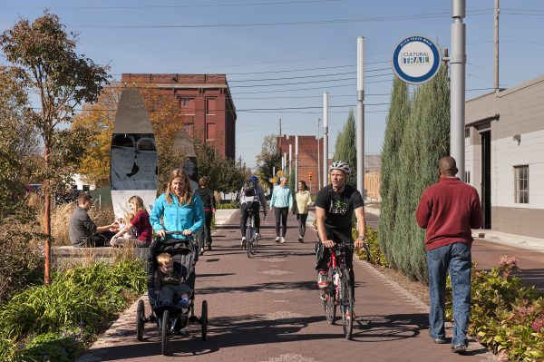 The Indianapolis Cultural Trail, an 8-mile biking and walking path connecting the city's six major cultural districts. (Lavengood Photography)