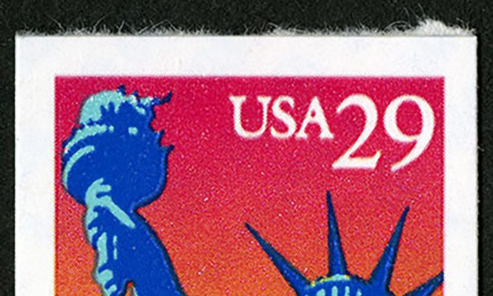 Statue of Liberty stamp issued in 1994. (Courtesy of World Stamp Show)