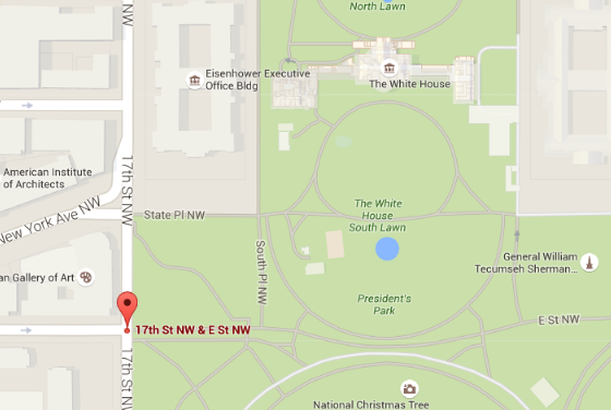 An approximate location where a man was shot by a Secret Service agent on May 20 for approaching a White House security checkpoint with a gun drawn. (Screenshot of Google Maps)