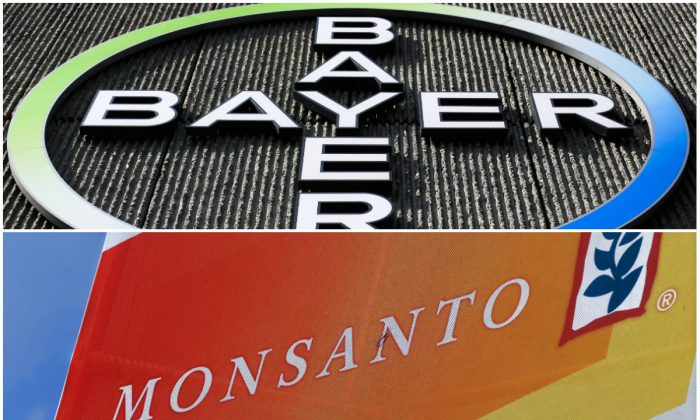 Top: The Bayer AG corporate logo on a building of the German drug and chemicals company in Berlin, Germany, Monday, May 23, 2016. (AP Photo/Markus Schreiber); Bottom: Aug. 31, 2015 photo of the Monsanto logo at the Farm Progress Show in Decatur, Ill. (AP Photo/Seth Perlman)