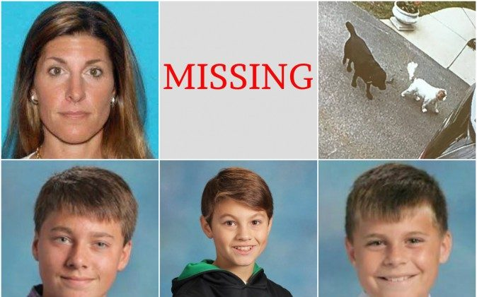 "40-year-old Michalene Melges (top left) and her children, (bottom left to right) 14-year-old Hans, 12-year-old Kristian ""Max,"" and 10-year-old Maverik ""Buddy"" were last seen on May 10. They're believed to be traveling with their two dogs (top right) King and Gigi. (Lake Geneva Police Department photos)"