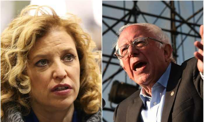 Debbie Wasserman Schultz and Bernie Sanders.  (Photos by Andrew Burton/Getty Images and MARK RALSTON/AFP/Getty Images)