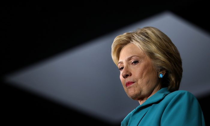 Democratic presidential candidate former Secretary of State Hillary Clinton looks on during a campaign event on May 24, 2016 in Commerce, California. Hillary Clinton is campaigning in California a head of the State's presidential primary on June 7th.  (Photo by Justin Sullivan/Getty Images)