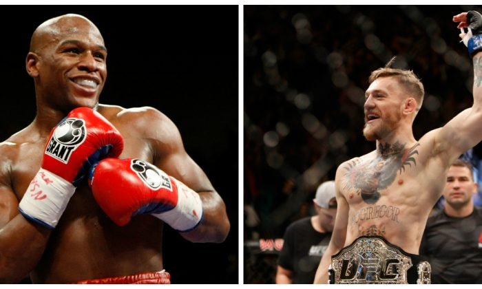 Left photo: Floyd Mayweather Jr. smiles in the ring during his fight against Juan Manuel Marquez at the MGM Grand Garden Arena . (Ethan Miller/Getty Images) Right photo: Conor McGregor celebrates after a first-round knockout victory over Jose Aldo. (Steve Marcus/Getty Images)