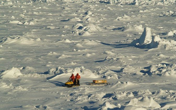 Older, rougher and thicker Antarctic sea ice in the Bellingshausen Sea in Oct. 2007, within the sea ice shield surrounding Antarctica. The ice in this region is approximately 33 feet (10 meters) thick.