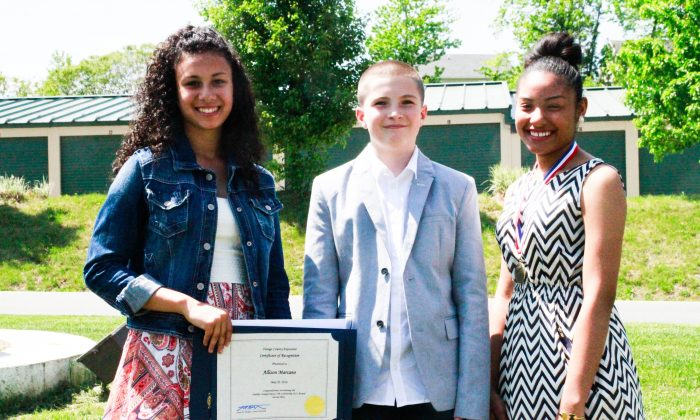 (L-R) Allison Marcano, Kade Brenner, and Katherine Abad were recognized at the County Executive's Annual Youth Award luncheon at Kuhl's Highland House in Middletown on May 20, 2016. (courtesy Enlarged City School District of Middletown)