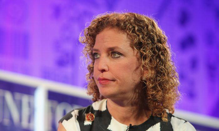 Debbie Wasserman Schultz speaks onstage at the FORTUNE Most Powerful Women Summit on October 16, 2013 in Washington, DC.  (Photo by Paul Morigi/Getty Images for FORTUNE)