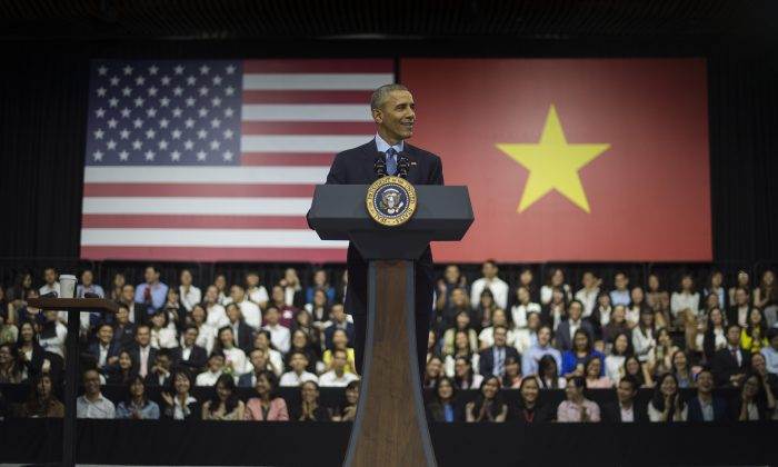 US President Barack Obama speaks at the Young Southeast Asian Leaders Initiative town hall event in Ho Chi Minh City on May 25, 2016. Chinese netizens have doubt about authenticity of the dinner session between Obama and Celebrity chef Anthony Bourdain. (Jim Watson/AFP/Getty Images)