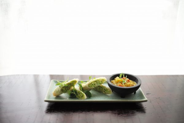 Chef Daphne Cheng's Edamame Spring Rolls with papaya curry and mint. (Courtesy of Mother of Pearl)