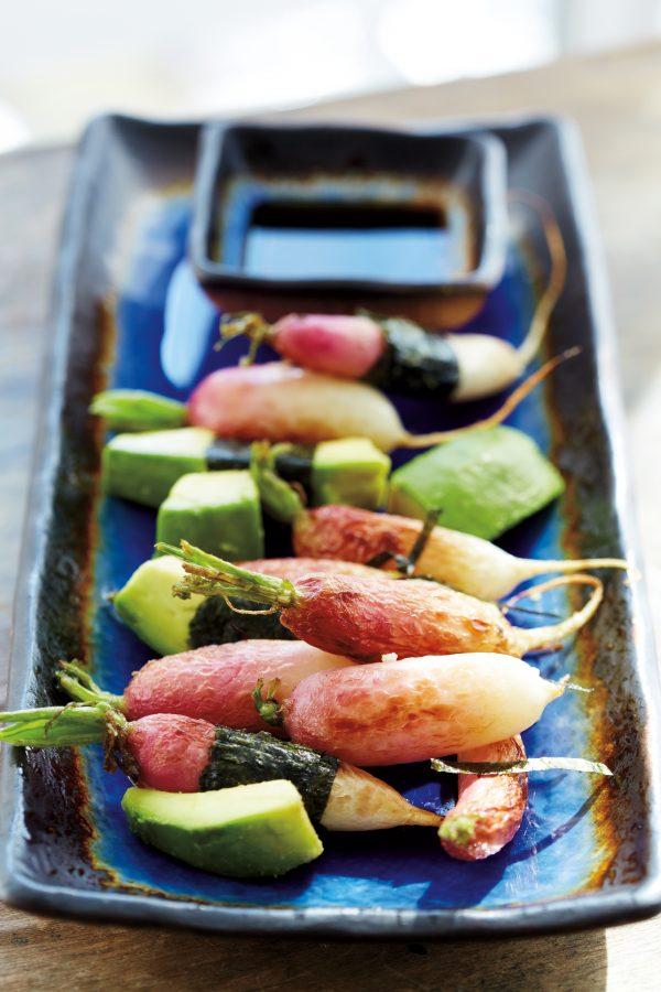 Vedge's Fancy Radish dish: French breakfast radishes with nori, tamari, and avocado. (Michael Spain-Smith)