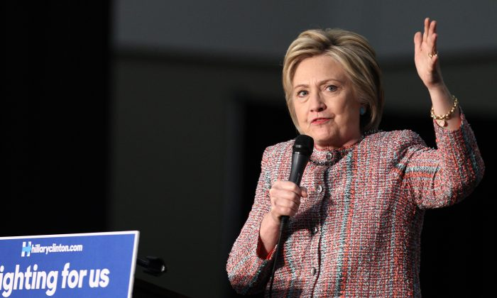Democratic presidential candidate Hillary Clinton speaks at an event at the UFCW Union Local 324 on May 25, 2016 in Buena Park, California. / AFP / Tommaso Boddi        (TOMMASO BODDI/AFP/Getty Images)