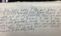 Thief Returns Stolen Items With an Apology: 'It Is Your Stuff Not Mine, I Am Very Sorry'