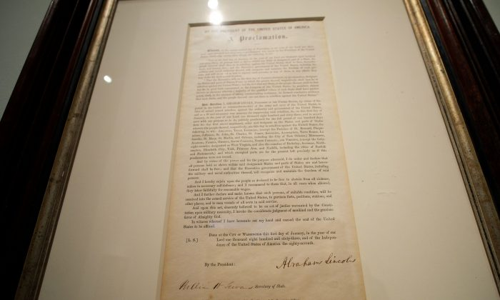 The Emancipation Proclamation signed by President Abraham Lincoln, that freed all slaves in the Confederacy is displayed at the Sothebys in New York, on May 18, 2016.    (Jewel Samad/AFP/Getty Images)