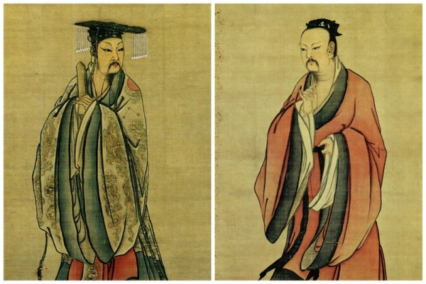 Song Dynasty depictions of emperors Yao (R) and Shun. (Public Domain-US)