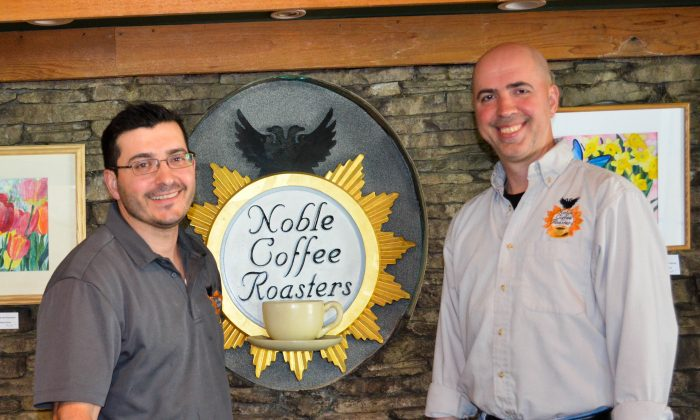 (L-R) Paul and Robert Deckaj  at Noble Coffee Roasters and cafe in Campbell Hall on May 23, 2016. (Yvonne Marcotte/Epoch Times)
