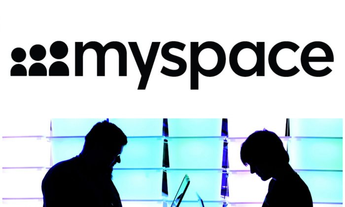 Top: Myspace logo. (Myspace); Bottom: Participants at the annual Chaos Computer Club (CCC) computer hackers' congress on Dec. 28, 2012 in Hamburg, Germany. (Patrick Lux/Getty Images)