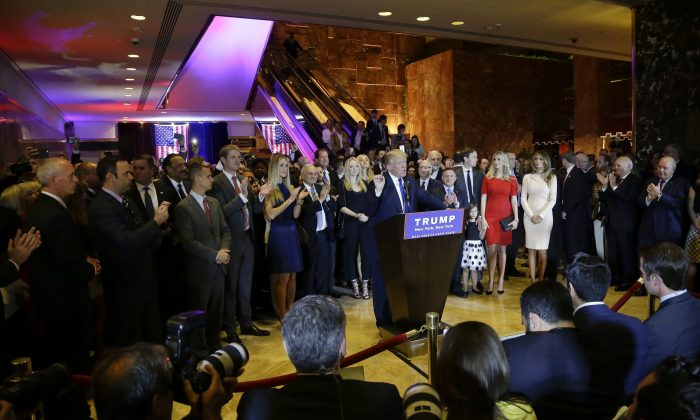 Republican presidential candidate Donald Trump speaks at a campaign event at Trump Tower in New York, April 19, 2016. Trump's frequent campaign events in Trump Tower are attracting scrutiny from New York City officials, who want to know whether he is abiding by rules requiring the building's atrium to be open to the public. (AP Photo/Julie Jacobson, File)