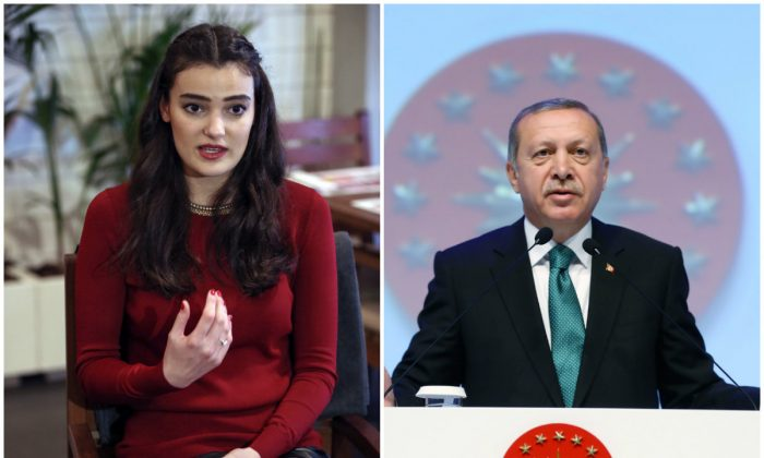 Left: In this Thursday, Feb. 26, 2015 file photo, former Miss Turkey Merve Buyuksarac speaks to The Associated Press in Istanbul, Turkey. (AP Photo/Emrah Gurel); Right: Turkey's President Recep Tayyip Erdogan in Istanbul, Monday, May 30, 2016. (Kayhan Ozer, Presidential Press Service/Pool via AP)