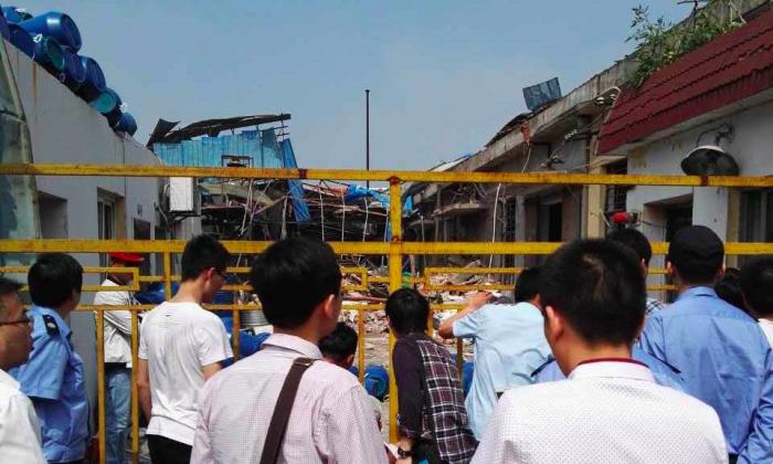 The scene of the factory explosion. (via Beijing News)