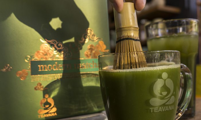 In this March 4, 2015, photo, matcha tea is prepared at the new Teavana Fine Teas + Tea Bar in Beverly Hills, Calif.. (AP Photo/Damian Dovarganes)