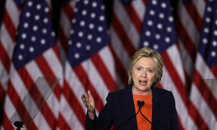 Democratic presidential candidate Hillary Clinton talks about national security in San Diego, Calif., on June 2, 2016. (Justin Sullivan/Getty Images)