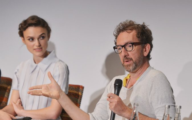 Actress Keira Knightley and writer/director John Carney attend the 'Begin Again' press conference at Crosby Street Hotel on June 26, 2014 in New York City. (Stephen Lovekin/Getty Images for HBO)
